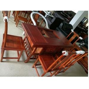 95成新实木茶桌配5张椅子